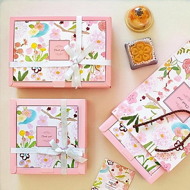 10pcs Oriental Cherry Sakura Theme Storage Boxes Gift Paper Box Macaron Chocolate Snacks Sweet Candy Birthday Packaging