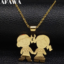 2019 Fashion Boy and Girl Love Stainless Steel Necklaces for Women Gold Color Necklaces & Pendants Jewelry chaine homme N18895