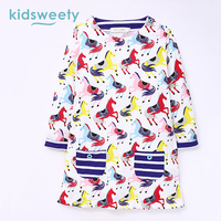 Kidsweety Girls Dresses Cotton Cartoon Horse Print A Line Long Sleeve O Neck Pullover Knee Length