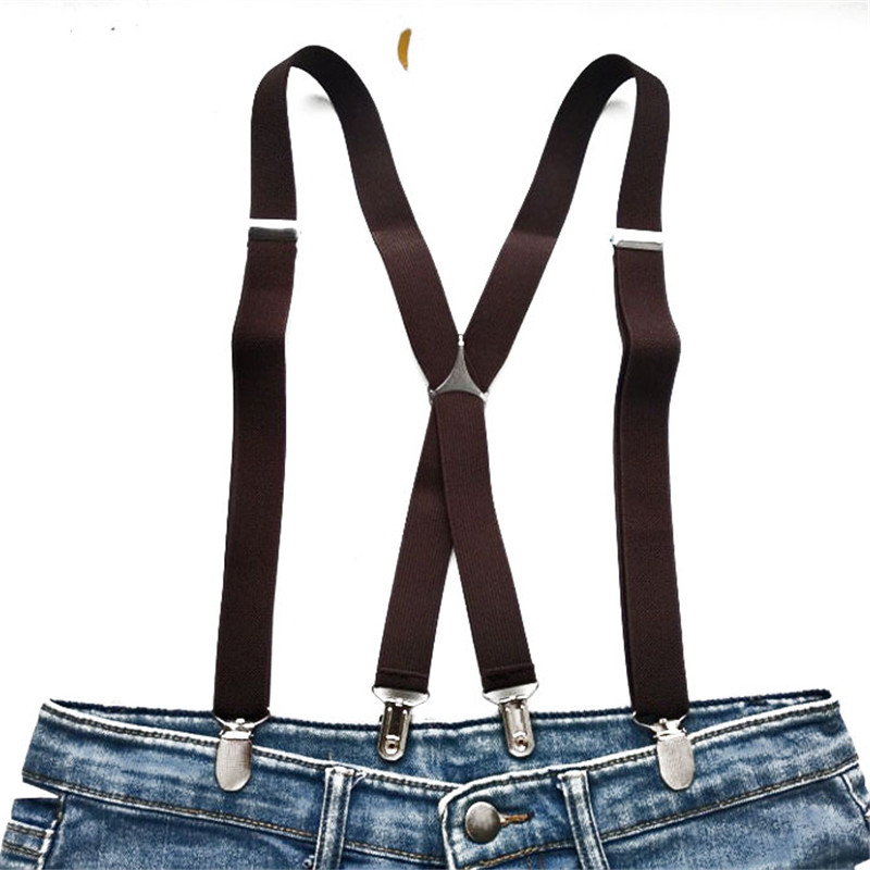 Coffee Color Suspenders Men X Shaped Women Suspender Hold Skirt Trousers Kids Adult Love