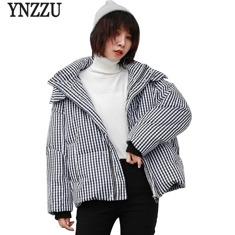 YNZZU Vintage Plaid New Winter Women's   Down   Jacket Casual Duck   Down     Coat   Woman Thicken Warm Hooded Loose Female Jacket YO734