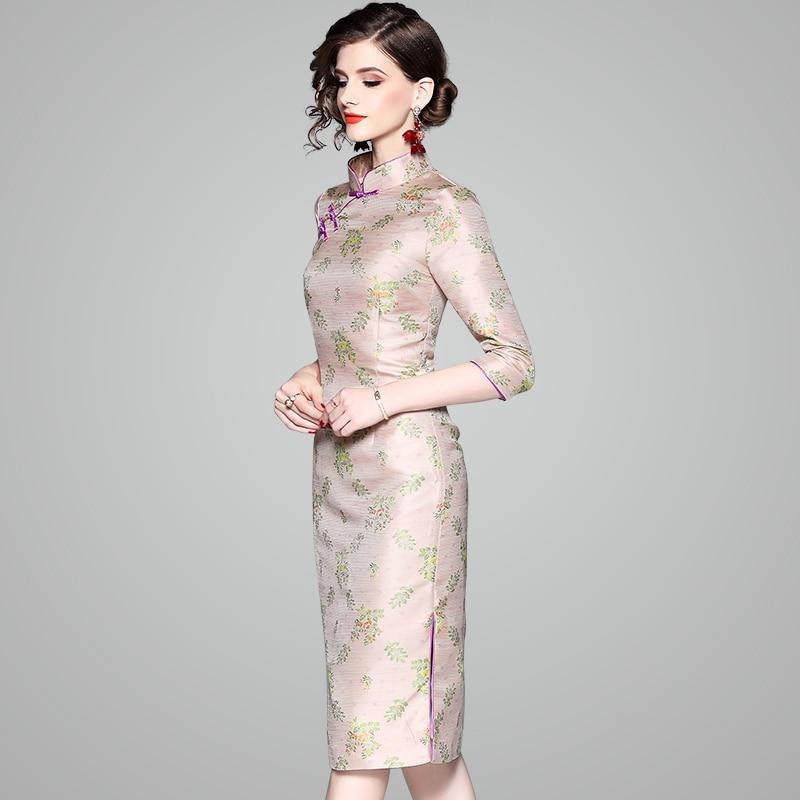 2018 Tejido Apricot Mujeres Slim De Vestidos Chino Otoño Vintage Jacquard Floral Qipao Las Vestido Albaricoque Sexy Casuales rqHrUPwC