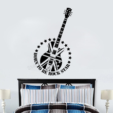 Art  Wall Sticker Guitar Decoration Vinyl Removeable Poster Music Rock Decor Fashion Decal LY94