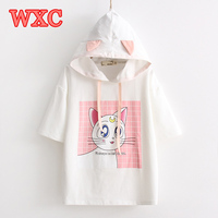 Harajuku Anime Sailor Moon T Shirt Kawaii Cute Luna Cat Hooded T Shirt With Ears Summer