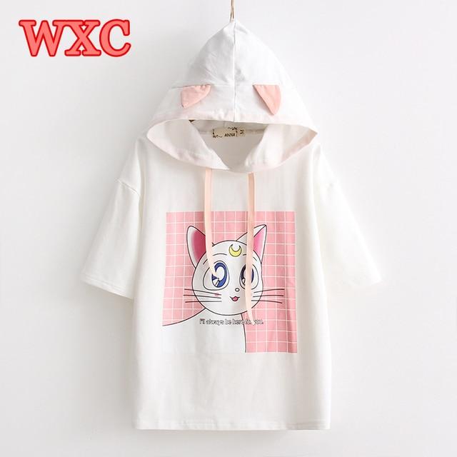 Harajuku Anime Sailor Moon T Shirt Kawaii Cute Luna Cat Hooded T-shirt With Ears Summer Short Sleeve Girls Ladies Tops Tee WXC