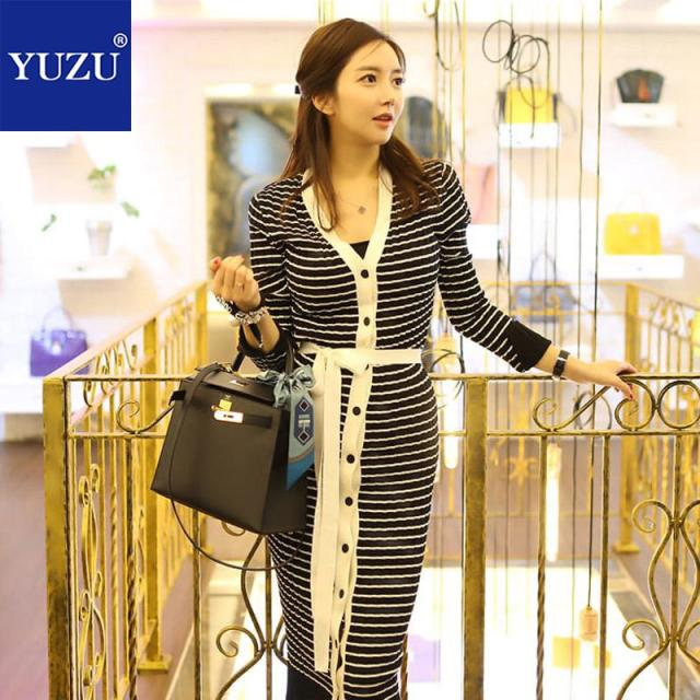 Sweaters Dress Fashion 2018 Women Single-breasted V-neck Lace Up Sheath  Striped Mid-calf Fall Bodycon Office Party Dresses 4eec3fe00