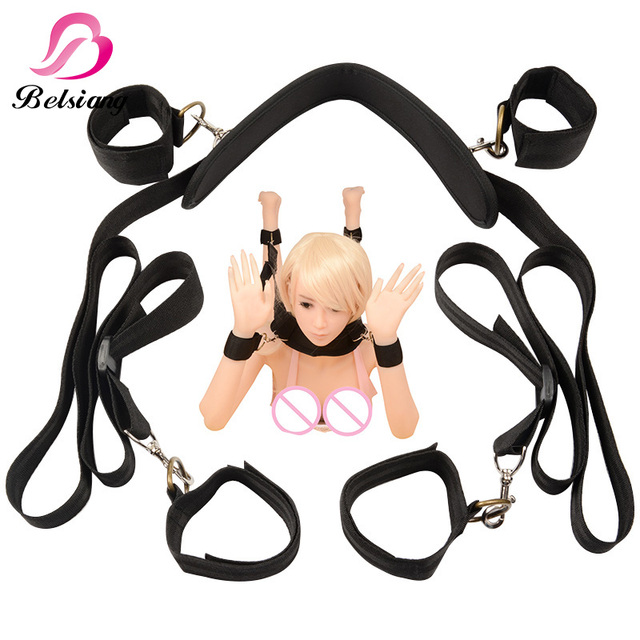 Sex Games Accessories Fetish Bed Bondage Restraints Restraints Open Leg  Neck Handcuffs Ankle Cuff Straps Sex