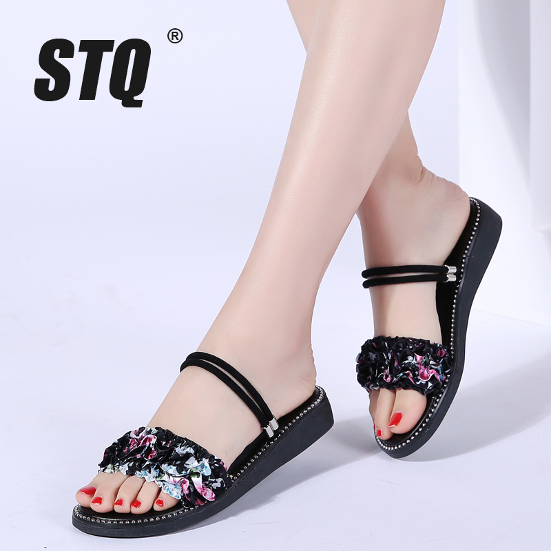 STQ Flat Sandals Flower Rubber Low-Heel Women Slippers Ladies 9603 Slides