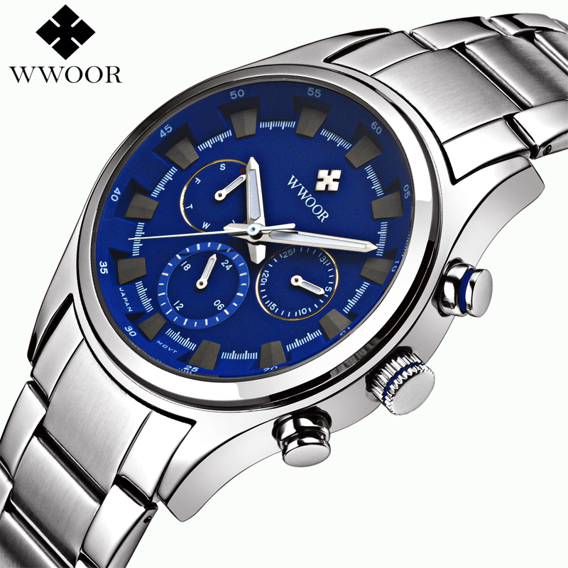 Top Brand Multifunction Sports Watches Men Quartz Watch Male Steel Army Military 6 pin Day Date 24 Hours Wrist Watch Waterproof weide new men quartz casual watch army military sports watch waterproof back light men watches alarm clock multiple time zone