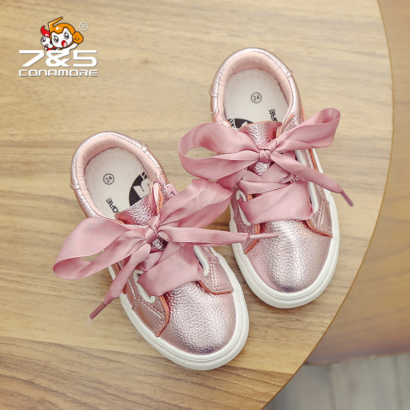 Free shipping Children shoes big girl shoes Ribbon bow PU Leather casual kids sneakers flat Loafer Toddler school Student shoes adidas samoa kids casual sneakers