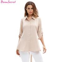 White Blouse Women Shirts 2017 Autumn New Khaki Casual Loose Plus Size Long Sleeve Shirt XL