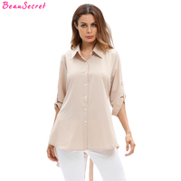 White Blouse Women Shirts 2017 Autumn New Khaki Casual Loose Plus Size Long Sleeve Shirt XL