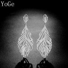 YoGe joyero, E2805 moda AAA CZ en forma de pluma pendientes colgantes