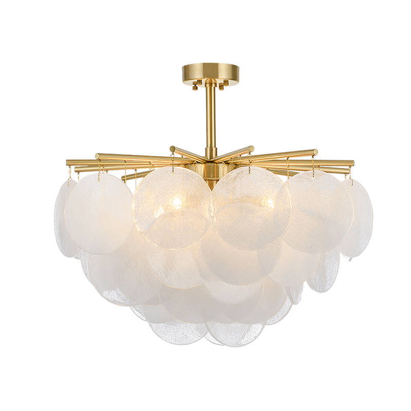 Candelabro Led de cristal de nieve moderno, iluminación de Metal dorado, comedor, candelabros Led, lámparas colgantes para sala de estar - 4