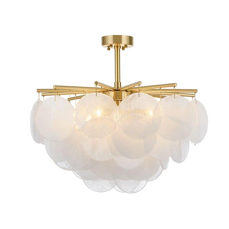 Moderne neige verre Led lustre éclairage or métal salle à manger pendentif Led lustres salon suspendus luminaires - 4