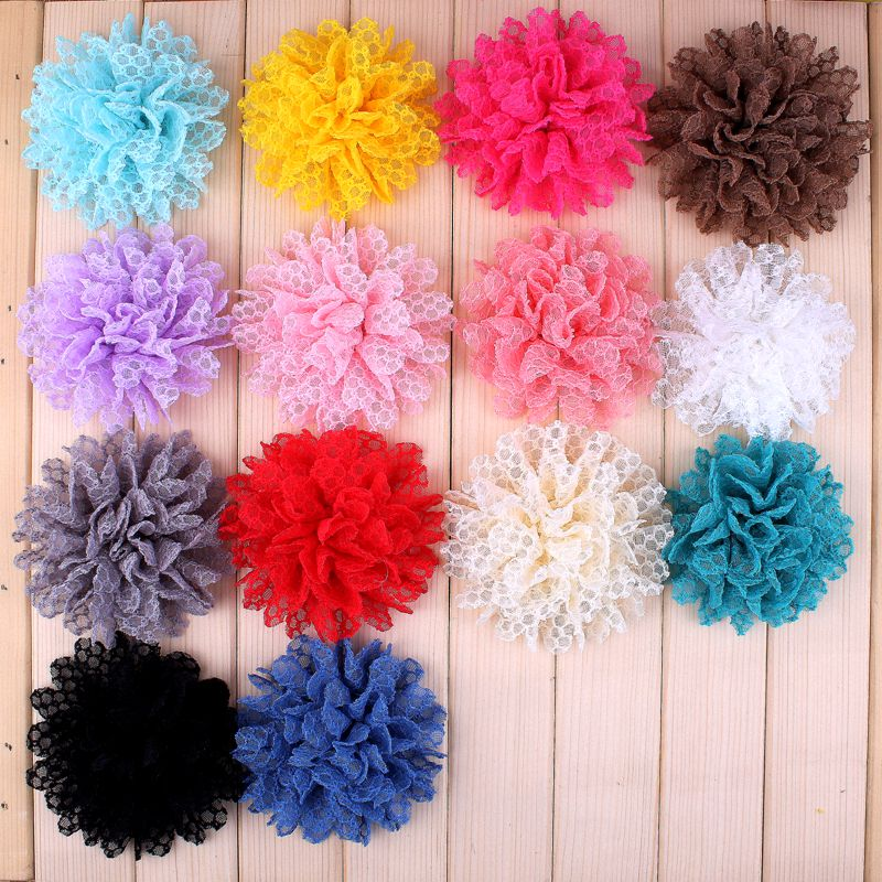 120pcs/lot 4 14 Colors Hot Sale Solid Ballerina Lace Flower For Girl Hair Accessories Artificial Fabric Flowers For Headbands