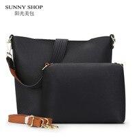 SUNNY SHOP Designer Vintage 2 Bags Set Luxury Leather Bags Handbags Women Famous Brands Crossbody Bags