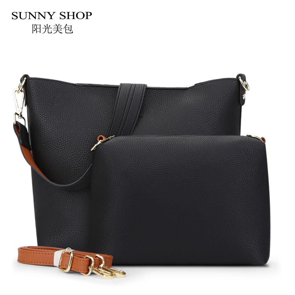 SUNNY SHOP Designer Vintage 2 Bags/ Set luxury leather bags handbags women famous brands Crossbody Bags For Women Messenger Bags