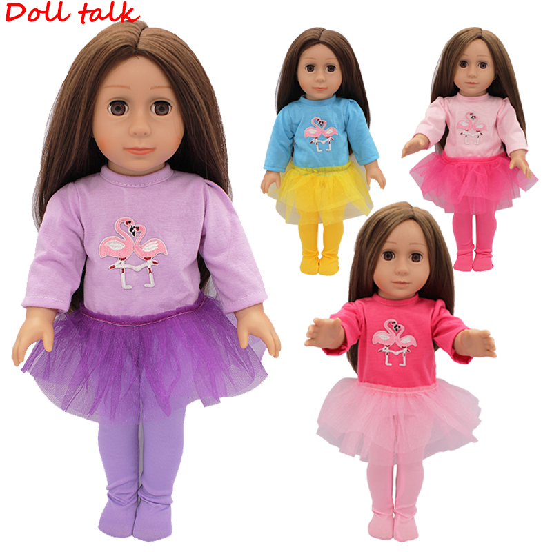 "Doll Talk New Doll Clothes Double Flamingo Dress With Pantyhose Skirt Suit For 43cm Baby Doll Fit 18"" American Doll Accessories"