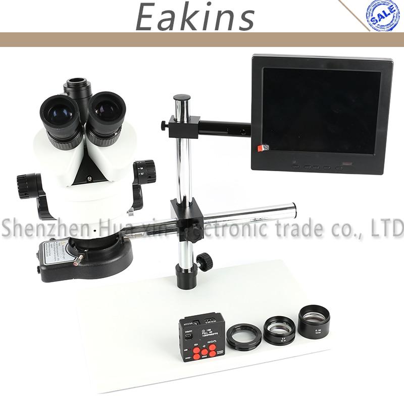 3.5X-90X Zoom Simul Focal Trinocular Stereo Microscope 16MP 1080P TF USB HDMI Video Camera Set +144 Light+Big Boom stand+8
