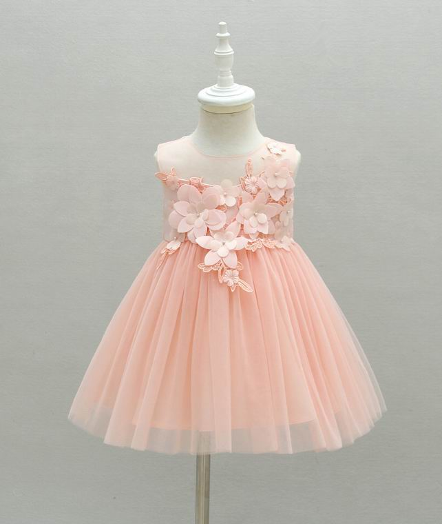 retail baby girl first birthday dress flowers pink tulle