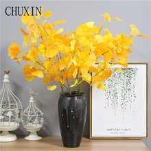 95cm yellow Simulation Maple Ginkgo Leaf Home Living Room Decoration Artificial Leaf Wedding Road guide Christmas decoration