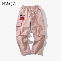 Cargo Pants for Men Women Ribbon Side Pockets Casual Pants High Street Black/Pink/Green Fashion Loose Stright Trousers