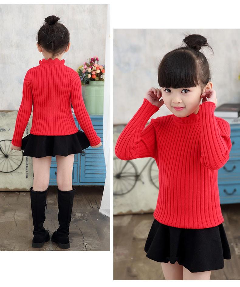 knitting big baby girls sweaters kids winter sweater 2016 long sleeve tops knitted kids sweaters girls pink green black kids top (15)