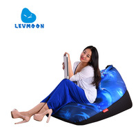 LEVMOON Beanbag Sofa Chair Blue Mage Seat Zac Comfort Bean Bag Bed Cover Without Filler Cotton