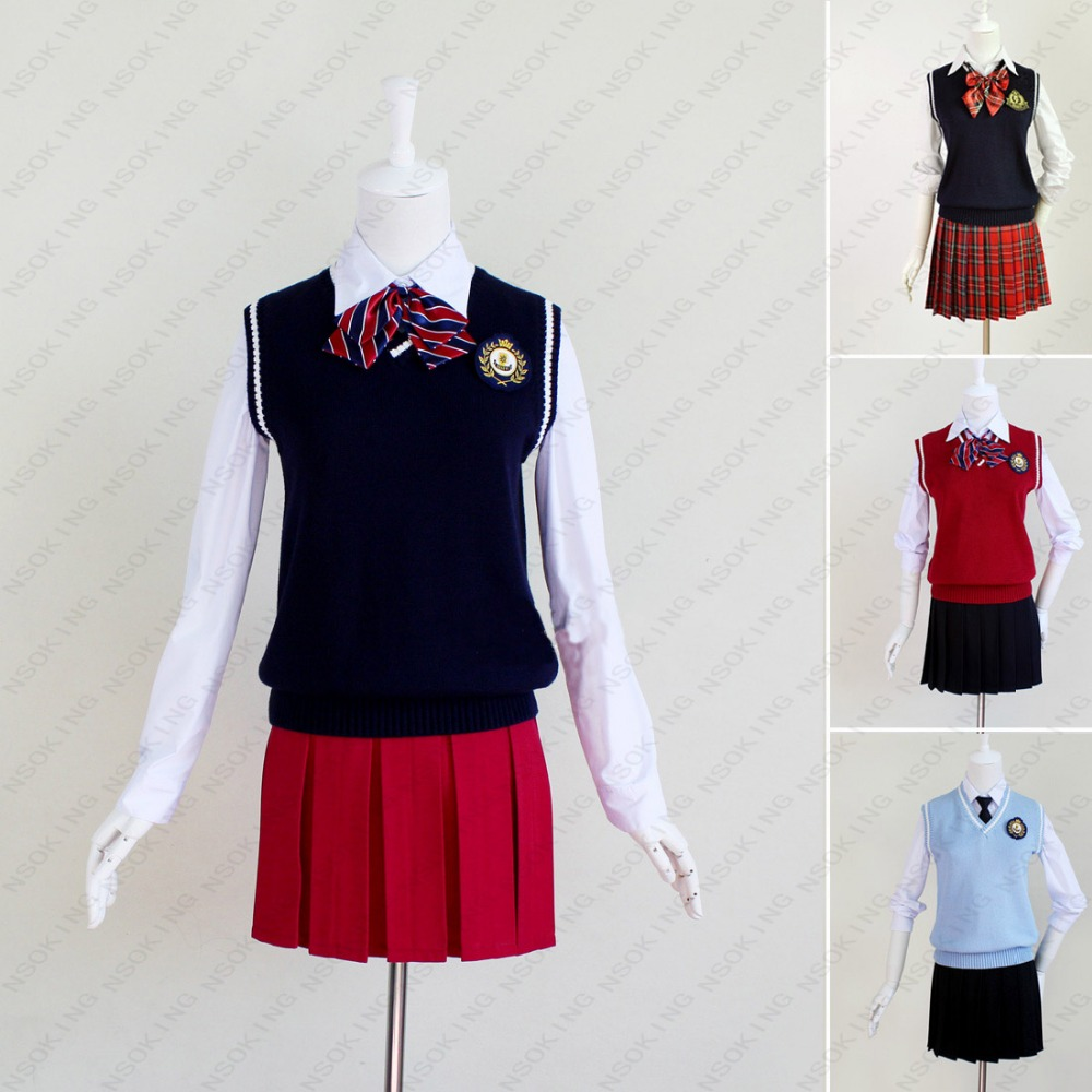 Haute qualité mode femme fille preppy style école uniforme pull jupe grande taille ensemble complet 9 design S-XXXL