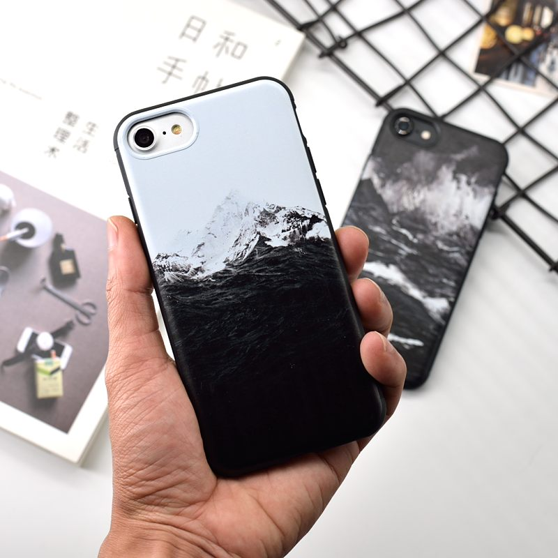 New Arrival Sea waves Snow Mountains Soft TPU Back Cover Coque Case For iPhone 6 6S 7 8 Plus X Mobile Phone Case Fundas Bag