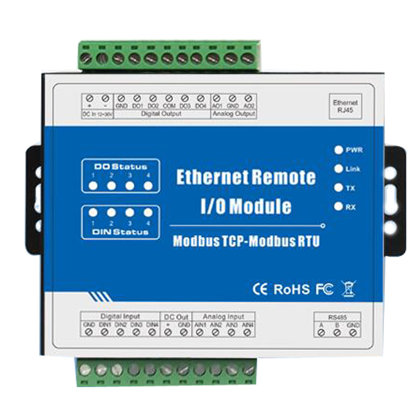 Ethernet Data Acquisition Module Modbus TCP Remote IO Supports 5 TCP Links Pulse counter 12-36V
