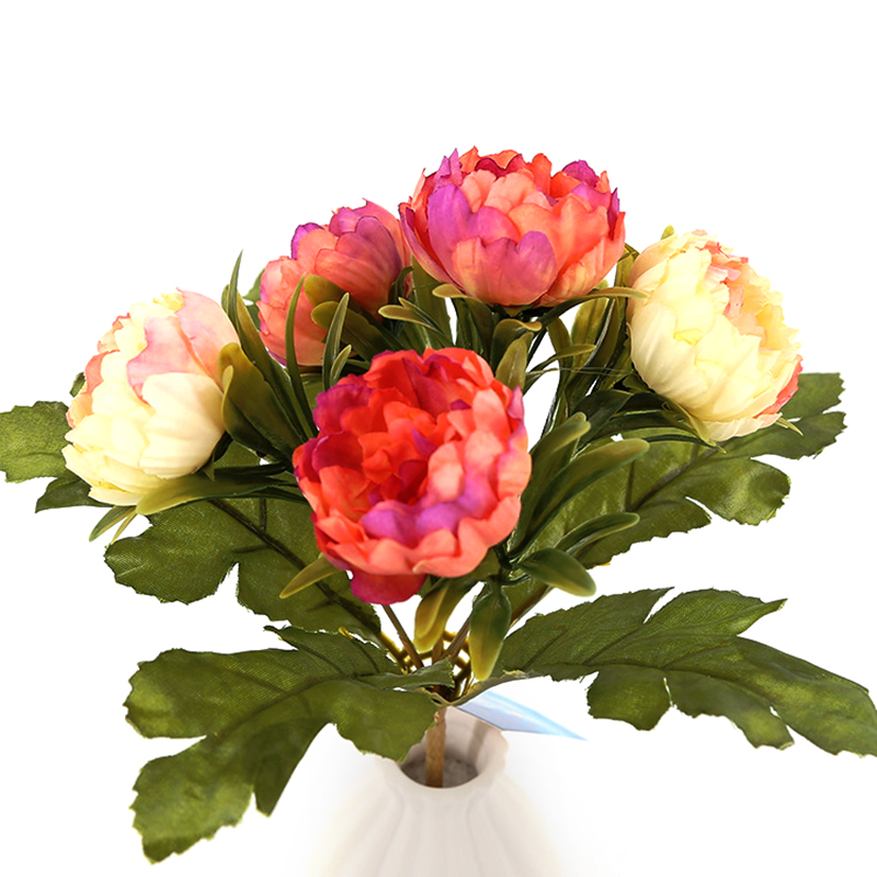 Christmas Wedding Bouquets And Flowers: 5 Heads Peony Flower Artificial Bouquet Silk Wedding