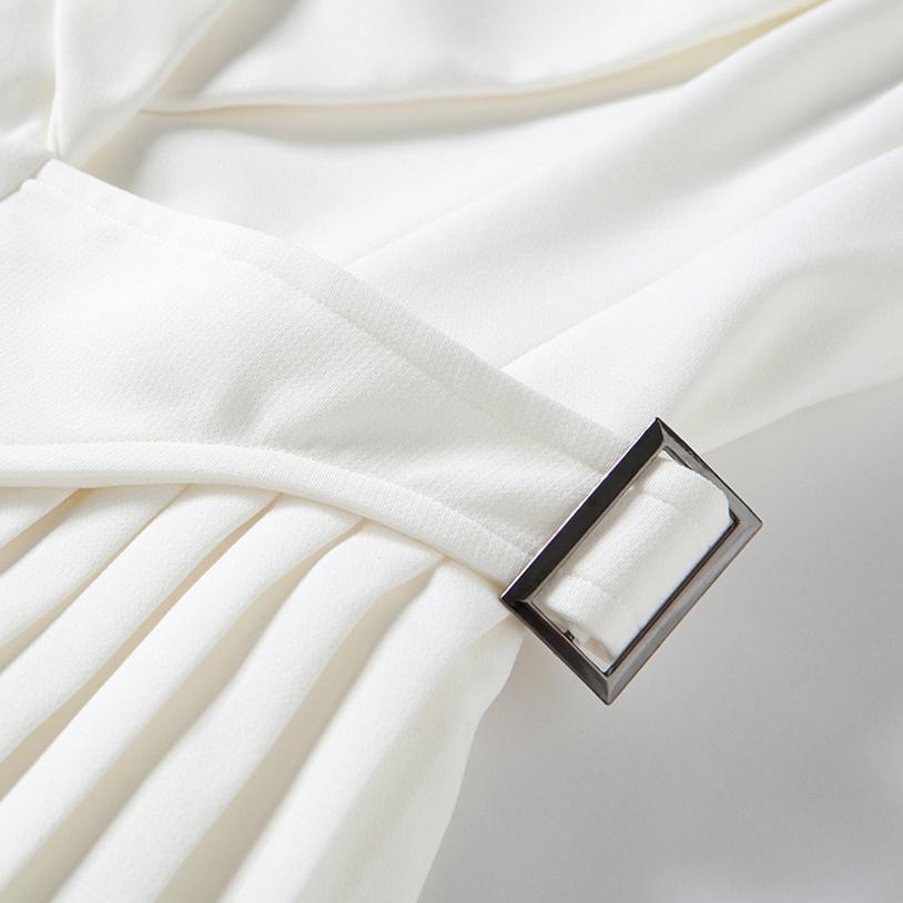 Parti Plissée Manches Qualité Nouveau Robes L712 Robe Sexy Costume 2018 D'été Femelle Haute Sans White Ruches Mode Gilet ZiOuTkPX