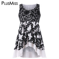 PlusMiss Plus Size 5XL 4XL Summer Butterfly Flower Lace Crocheet Sleeveless Blouse 2018 Women Clothes Big Size Dip Hem Tunic Top