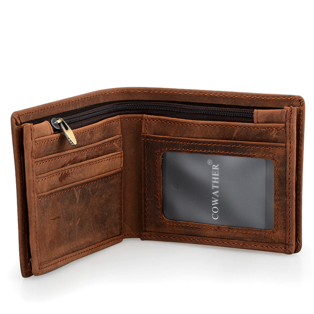 100% Top Quality Cow Genuine Leather Men's Wallets 5