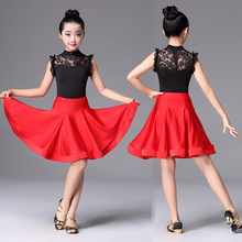 Girls Latin Dancewear Costume Childrens Practice Dress  Lace Professional Competition Modern Ballroom Party Clothes