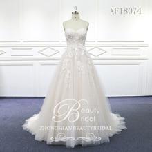 Женское свадебное платье со шлейфом, кружевное платье с бисером, 100% реальные фотографии, XF18074