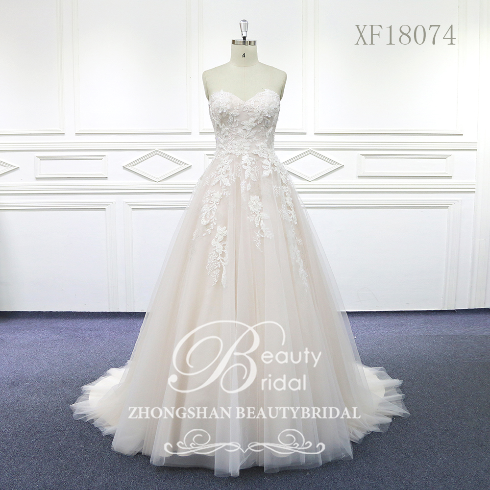 100% Real Photos Sweet Heart Wedding Dresses Court Train Wedding Vestido Lace Bridal Dress With Beading XF18074
