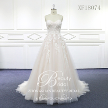 100% リアルフォトスウィートハートウェディングドレスコートトレインウェディングドレス Vestido レースブライダルドレスとビーズ XF18074