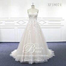 Robe de mariée en dentelle, robe de mariée avec perlage, traine de cour, robe de mariée, XF18074, modèle 100%