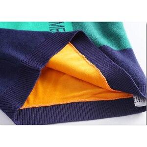 Image 5 - Pull en velours pour garçons, pull chaud pour enfants, pull tricoté, ample, à lintérieur, à carreaux, 4 13T, pour adolescents