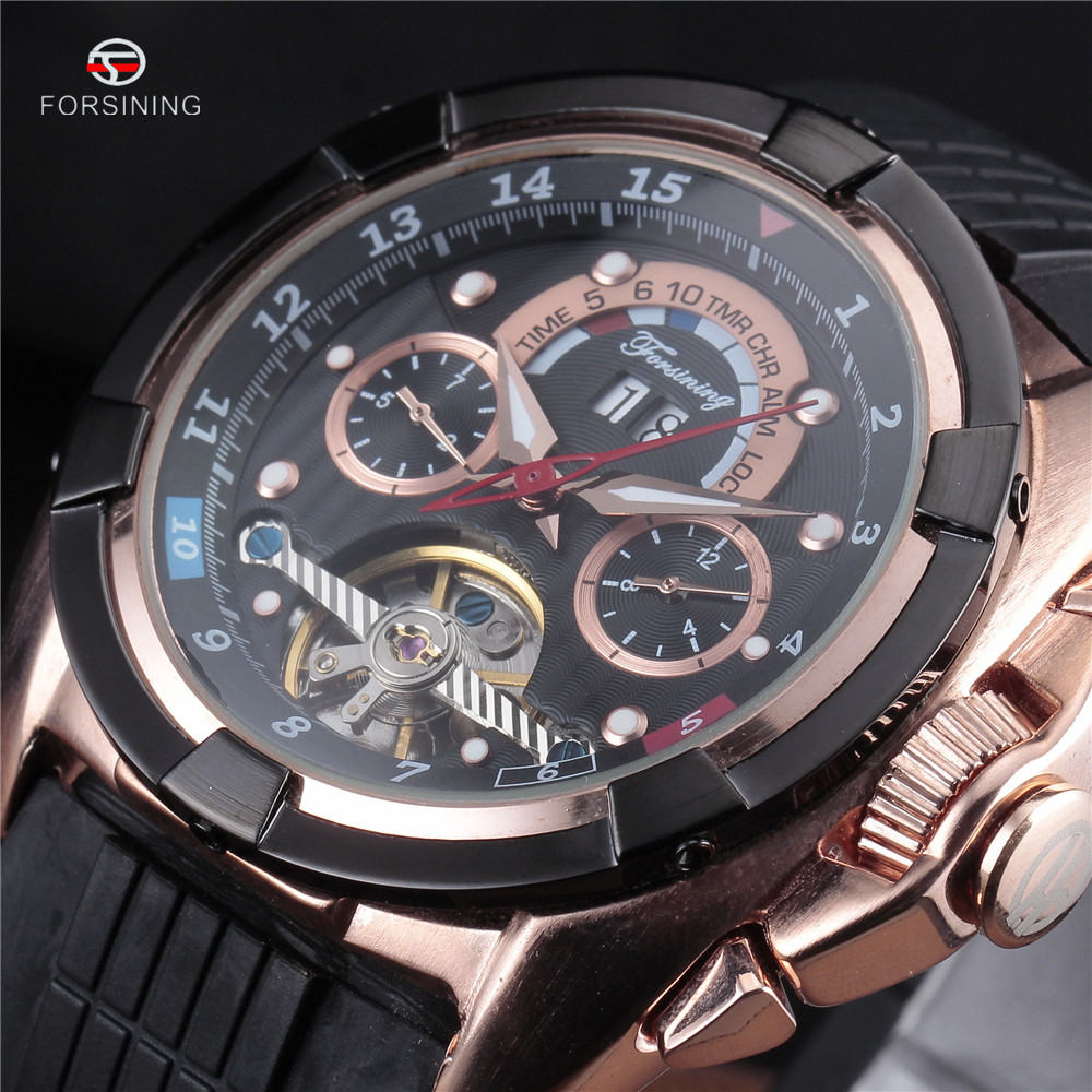 4 Colors FORSINING Top Luxury Mens Sport Watches Rubber Tourbillon Mechanical Automatic Watch Men relogio masculino esportivo forsining mens dress tourbillon mechanical watch auto date roman blue dial rubber band automatic rose gold sport watches for men