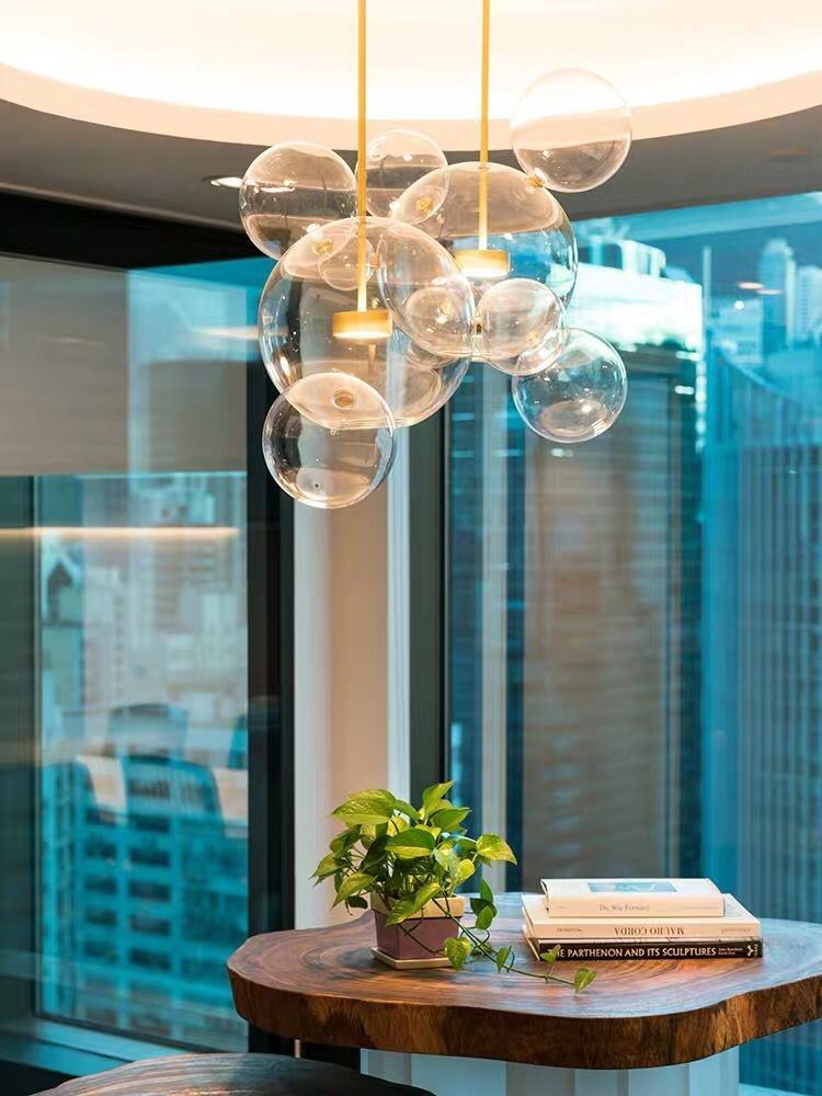 Transparent Glass Chandeliers For Living Room Art Deco Lamp Candelabra Modern Lighting Interior Lighting Restaurant Iluminacao