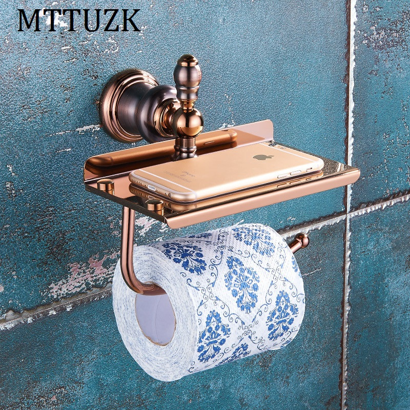 MTTUZK New Luxury Wall Mounted Brass Rose Gold Paper Box Roll Holder Toilet Paper Holder Shelf Tissue Box Bathroom Accessories luxury antique brass paper rack bathroom paper holder european toilet paper box toilet accessories wall mounted