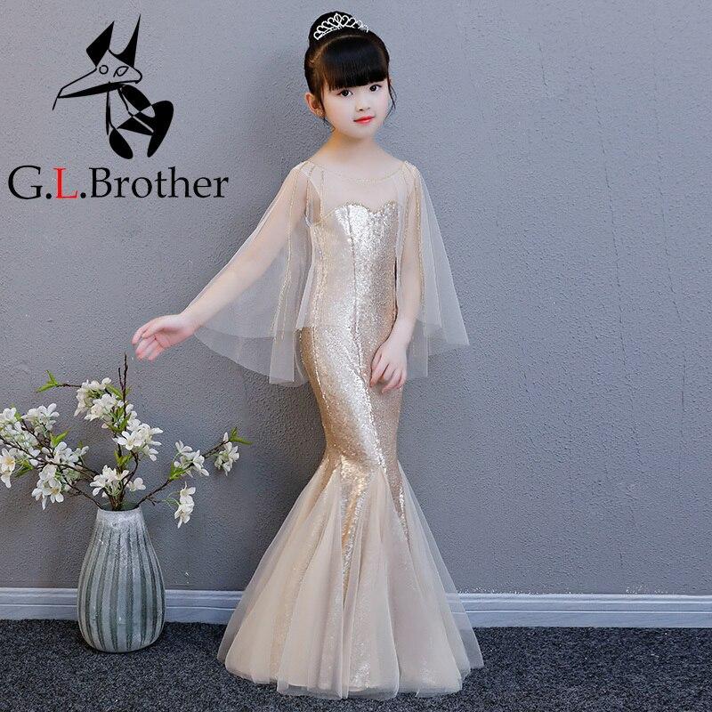00ba4ff2b23 Luxury Gold Flower Girl Dresses Flare Sleeve Mermaid Dresses Kids Girl  Pageant Gown For Wedding Birthday ...