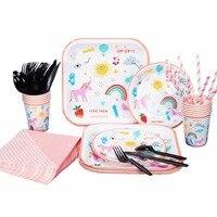 10 Packs RiscaWin Unicorn Düğün Doğum Günü Partisi için Set Malzemeleri Dringking Kağıt Bardaklar Tabaklar Payet Peçeteler Tek Kullanımlık