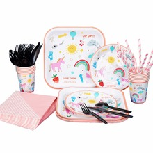 ФОТО riscawin unicorn party wedding birthday party set supplies for 10 packs paper plates cups dringking straws napkins disposable