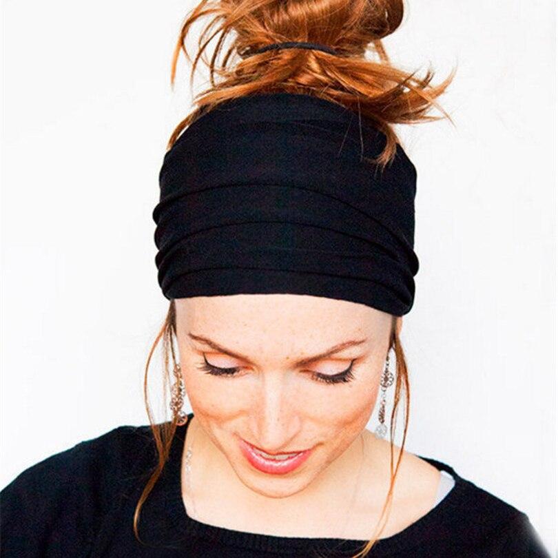 Haimeikang Women Soft Elastic Wide Hair Bands Head Wrap Headdress For Women Sport Stretchy Headband Turban Hair Accessories
