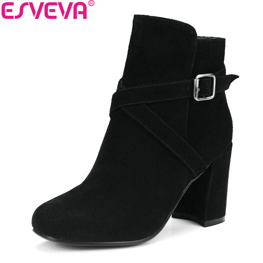 ESVEVA 2019 Women Boots Pointed Toe Cow Suede PU Western Style Buckle Square Heels Ankle Boots Fashion Woman Shoes Size 34-39 esveva 2018 women boots cow leather suede out door buckle square high heels ankle boots pointed toe warm fur boots size 34 39